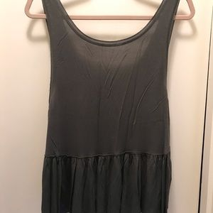 Tops - Olive scoop back ruffle bottom tank